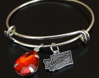 Washington Bracelet, Washington Bangle, Washington Charm, Washington Pendant, Washington Jewelry, Washington State Bracelet, Washington Map