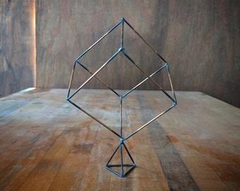 Geometric Cube on Pyramid Decorative Statue