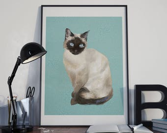Portrait Digital cat Siamese custom custom from photo to imprimer(textile,papeterie,mug,objet,décoration gateau..)