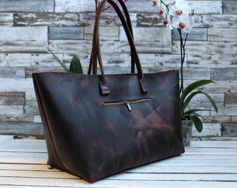 waxed Leather bag.Leather Tote.leather tote bag ,handmade leather bag ,tote bag ,large leather bag,brown leather bag