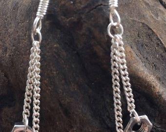 X Small Double Drop Hex Nut 925 Earrings