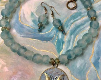 Blue recycled glass butterfly necklace set