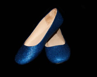 Wedding shoes Azurite Blue  wedding shoes Blue shoes navy flats blue flat shoes bridal shoes blue shoes custom shoes glitter shoes