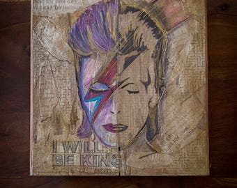 Artistic paint on recycled wood, David Bowie