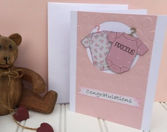 Baby Girl Card, Precious Baby Card, Congratulations Baby Card, Pink Baby Girl Card, Onesie Card, 3D, adorable, could be altered for twins