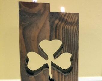 Rustic Shamrock Cutout Reclaimed Wood Tea Light Candle Holder Irish