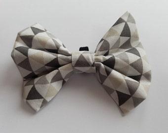 Geometric Grey Bow Tie