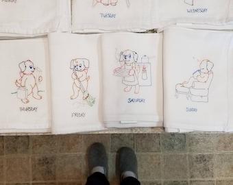 Flour Sack Kitchen Towels-Days of Week