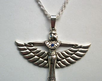Egyptian Jewelry, Isis Pendant ,  Winged Egyptian Goddess Isis Necklace -  Egyptian Goddess Isis Pendant Necklace ,Egyptian Necklace
