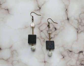 Contemporary natural semi precious mix beaded drop earring