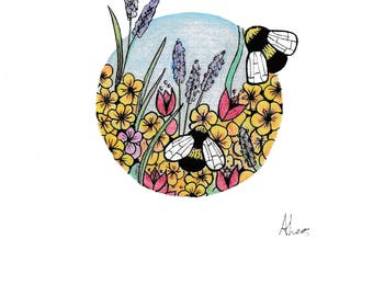 Bee garden illustration