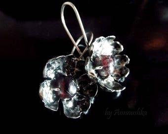 Garnet Silver Earrings Flowers Earrings Womens Earrings Garnet Earrings With Pomegranate Earrings Boho Earrings Rosehip Spring Flowers