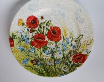 Summer Flowers, decoupage plate, ceramic plate, decorated plate, for mother, for girl, flowers, gift