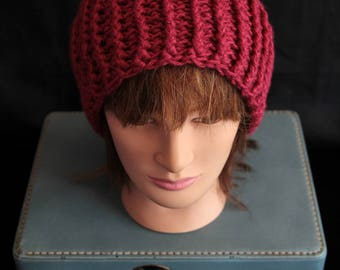 Burgundy Crochet Hat (E3)