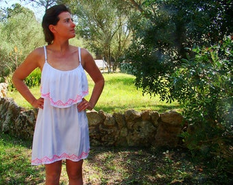 Summertime dress, white dress, embroidered by hand, ideal for summer