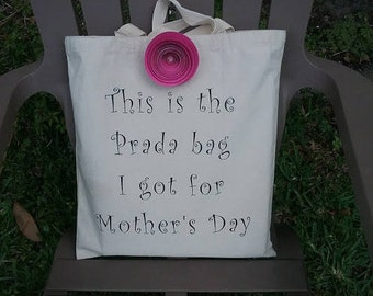 Prada Canvas Tote Bag, Mother's Day Gift, Tote Bag, Canvas Tote Bag