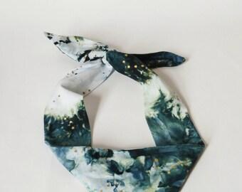 Hand Dyed Headband, Hand Painted, Blue, White, Gold, Bandana, Headscarf.