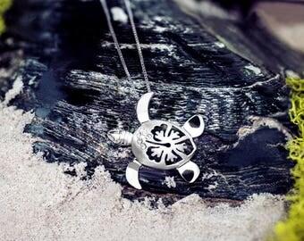 Turtle Hibiscus Necklace Pendant