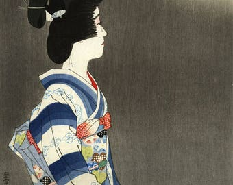 "Japanese Art Print ""Firworks"" by Shinsui Ito, woodblock print reproduction, fine art, asian art, cultural art"