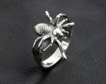 Silver spider ring, spider jewelry, sterling silver women's ring, animal ring, Gothic silver ring, spider ring women, Christmas gift for her
