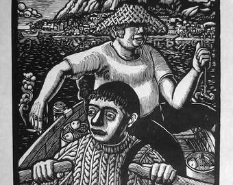 If You Want to Make it to Shore, you Must Do the Rowing (Grand Voyage #5) - Limited Edition Woodcut
