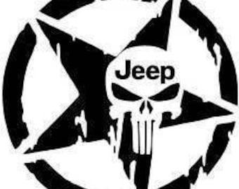 "PUNISHER USA FLAG Jeep 5"""