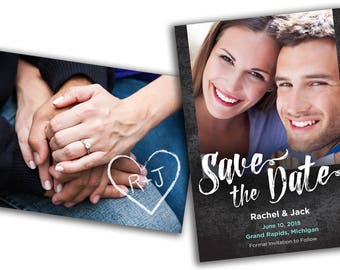 Save The Date Printable Engagement Photo Card (5x7 - 2 sides) Printable file, Printed Note Cards & envelopes or Printed Magnet
