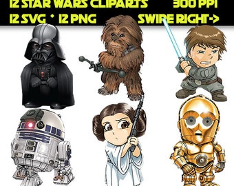 12 Star Wars Clip Art, Star Wars SVG, Star Wars PNG,  Star Wars Decoration, The Force Awakens Clip Art, Instant Download