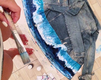 Blue Wave Handpainted Denim jacket (! Please read the description !)