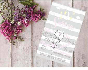 Printable Baby birth certificate-hot air balloon-grey and pink