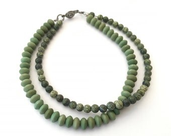 SALE - Russian serpentine and moss green saucer bead 2-strand bracelet