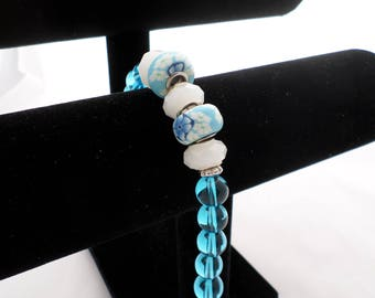 Bracelet 'Floral Fun' Blue and White