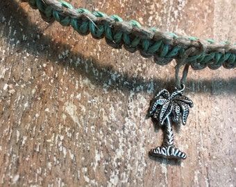 Custom Green Palm Tree Hemp Necklace