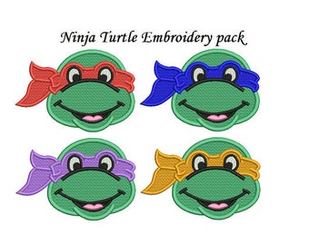 Ninja Turtle Embroidery Design - 3,4 inch size machine embroidery INSTANT DOWNLOAD