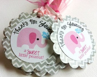 Elephant Tags Baby Shower Favor Tags, Baby Favors, Grey and Pink Favor Elephant Tags, Pink Elephant Baby Shower, Set of 12 favor Tags