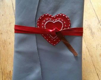 Red Hearts, Gray Leather Handstitched Journal