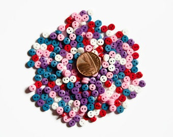 Doll Size Buttons - 6mm Micro Buttons - Mini Buttons - Small Buttons - Tiny Buttons - Plastic Buttons for Dolls Clothes