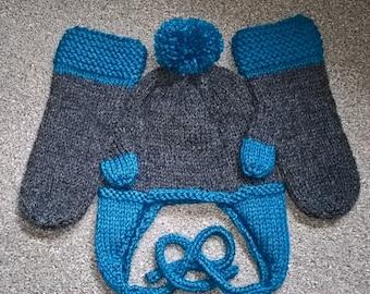 Hand Knit Ladies Hat & Mittens Set