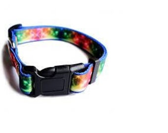 Polyester Heat-transfer Colorful Dog Collar with D ring and Plastic buckle