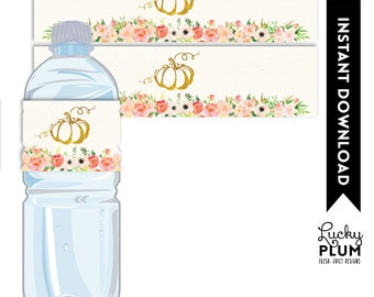 Pumpkin Water Bottle Label / Fall Water Bottle Label / Pumpkin Napkin Ring / Fall Napkin Ring / Autumn Water Bottle Label / DIY Printable