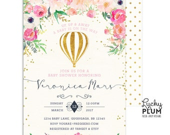 Hot Air Balloon Baby Shower Invitation / Up Up and Away Baby Shower Invitation / Couples Baby Shower Invitation / Coed Floral Digital