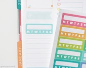 14, Weekly habit tracker planner stickers, checklist, to do, task, routine, life planner stickers, vertical layout, WHT9