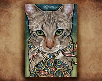 Cat Lover Gift Cat Art Print Art Nouveau Print Pet Print Pet Gift For Her Animal Art Animal Print Birthday Gift For Woman Striped Cat Art