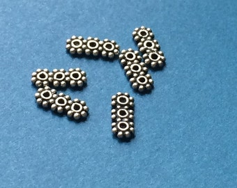 Bali silver 3 hole spacer beads, daisy style pack of 6