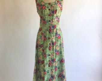 Green Floral Garden Vintage Day Dress