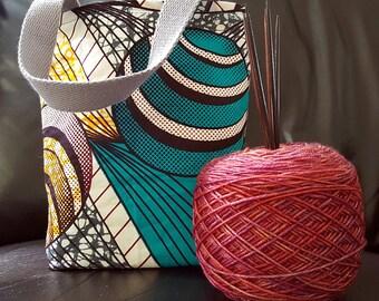 Blue Circles Knitting Bag / Tote Bag