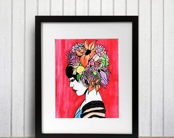 Bouquet, Flower Crown, Original Watercolor - Art Print