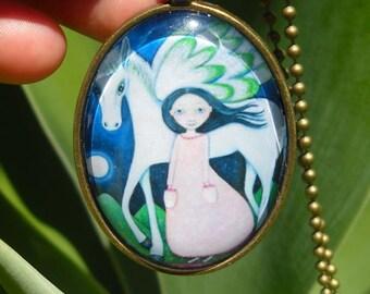 Pegasus Girl Necklace Glass Tile Oval Pendant White Horse Jewelry JewelleryGift for friend Gift for sister Girl and Flying Horse Art Pendant