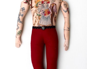 Tattooed Man with Beard Doll Day of the Dead Toile plush