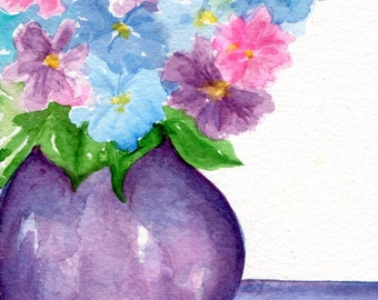 Hydrangeas watercolor painting original 5 x 7 artwork Hydrangea Flowers art in Vase Still Life, watercolors SharonFosterArt, hydrangea art